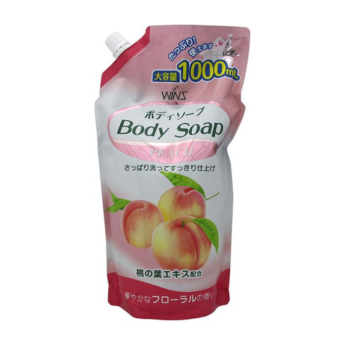 Купить Гель для душа Wins Peach Body Soap (1000 мл), Нежный увлажняющий гель для душа с натуральным экстрактом листьев персика, Япония