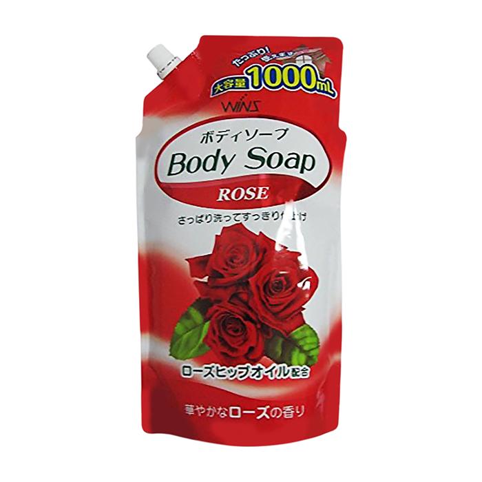 Купить Гель для душа Wins Rose Perfume Body Soap (1000 мл), Нежный увлажняющий гель для душа с натуральным экстрактом розы, Япония