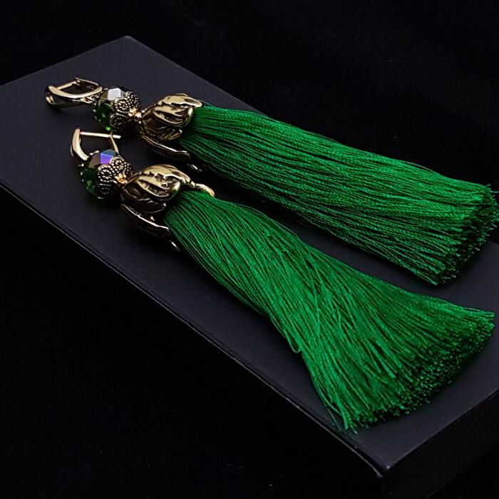 Серьги-кисти Wizard Brush - Emerald