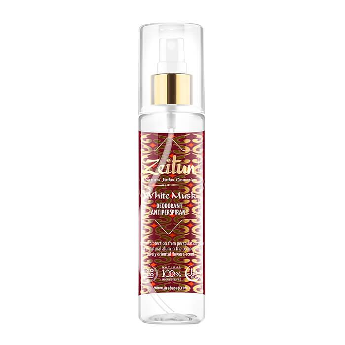 Купить Дезодорант Zeitun White Musk Deodorant Antiperspirant, Минеральный спрей дезодорант-антиперсперант с ароматом белого мускуса, Иордания