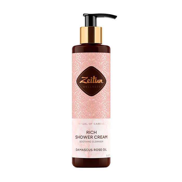 Купить Крем для душа Zeitun Ritual of Caress Rich Shower Cream, Смягчающий крем для душа с дамасской розой и маслом персика, Иордания