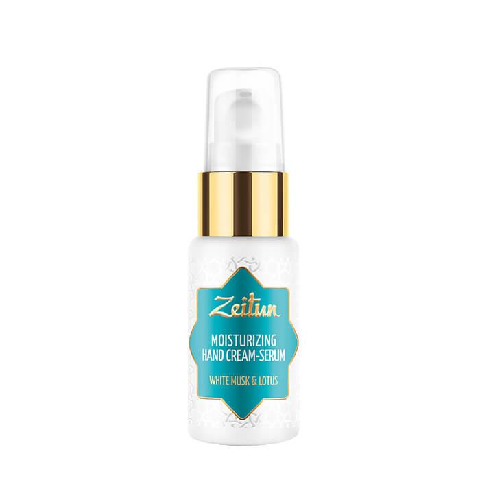 Купить Крем для рук Zeitun White Musk & Lotus Moisturizing Hand Cream-Serum, Увлажняющий крем для рук и ногтей с ароматом голубого лотоса и белого мускуса, Иордания