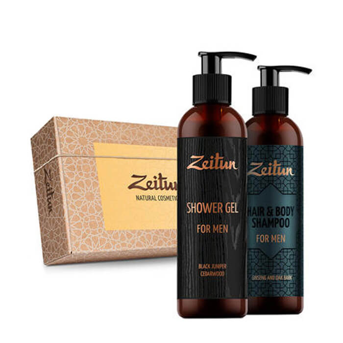 Купить Мини набор подарочный Zeitun For Men, Универсальный фито-шампунь для волос и гель для тела, Иордания