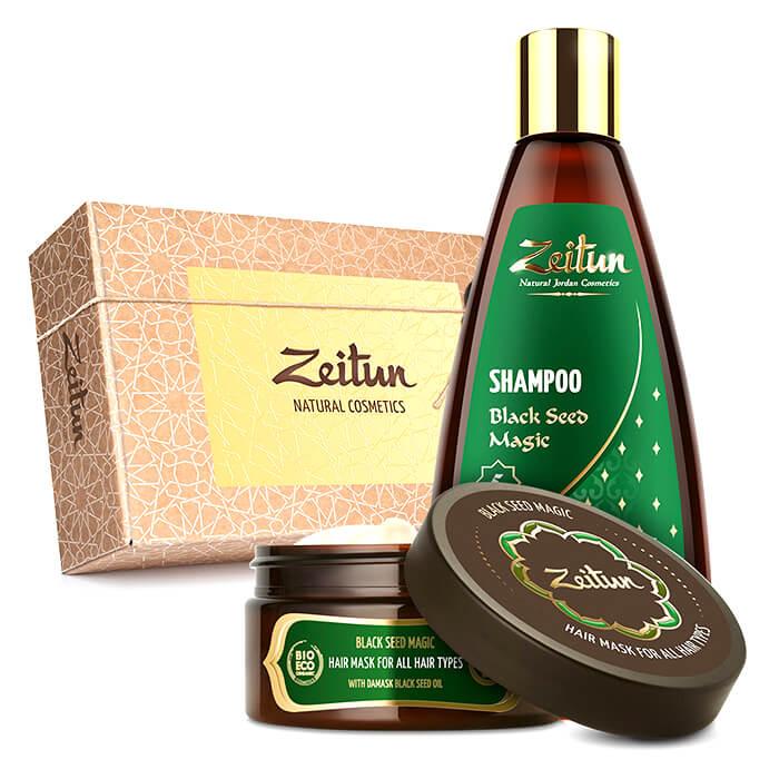 Купить Набор для волос Zeitun Black Seed Magic Hair Set, Шампунь и маска для волос с маслом чёрного тмина, Иордания