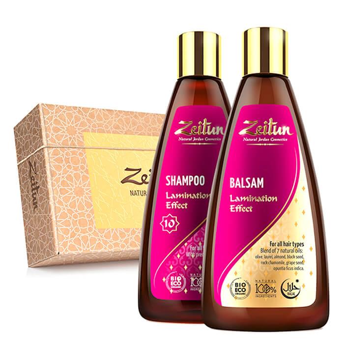 Купить Набор для волос Zeitun Lamination Effect Hair Set, Шампунь и бальзам для волос с эффектом ламинирования, Иордания