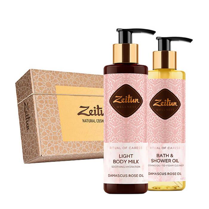 Купить Набор подарочный Zeitun Минуты нежности, Подарочный набор из двух средств для тела с дамасской розой и персиком, Иордания
