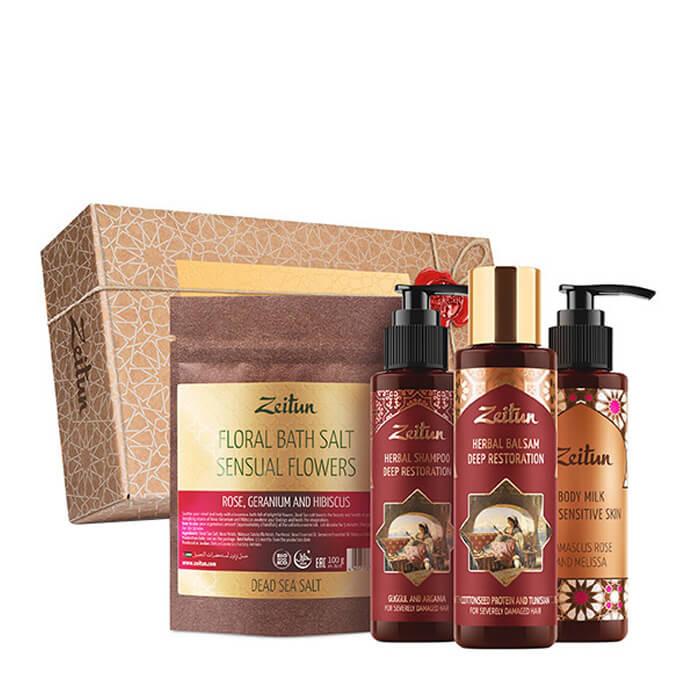 Купить Набор подарочный Zeitun Самой прекрасной, Подарочный набор из четырёх мини-средств для волос и тела, Иордания