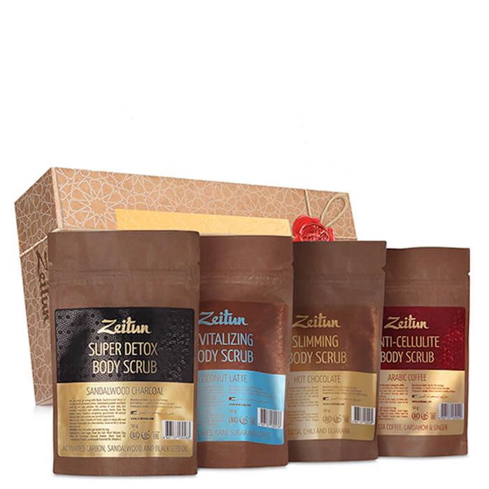 Купить Набор скрабов для тела Zeitun Body Scrub Set, Подарочный набор кофейных мини-скрабов для идеального тела, Иордания