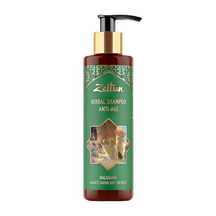 Купить Шампунь для волос Zeitun Herbal Shampoo Anti-Age Macadamia, Фито-шампунь против против седины и старения волос с макадмией, Иордания