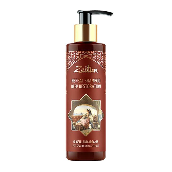 Купить Шампунь для волос Zeitun Herbal Shampoo Deep Restoration (200 мл), Глубоко восстанавливающий фито шампунь для повреждённых волос, Иордания