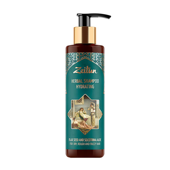 Купить Шампунь для волос Zeitun Herbal Shampoo Hydrating Flax Seed and Socotrina Aloe, Увлажняющий фито-шампунь для волос со льном и сокотрийским алоэ, Иордания