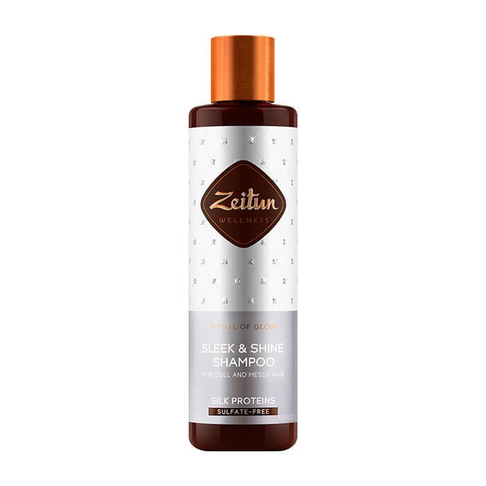 Купить Шампунь для волос Zeitun Ritual of Glow Sleek & Shine Shampoo, Бессульфатный шампунь для гладкости и блеска волос с пептидами шёлка, Иордания