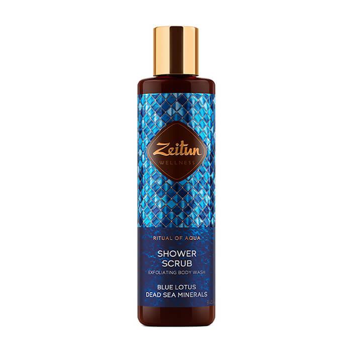 Купить Скраб для душа Zeitun Ritual of Aqua Shower Scrub, Пенящийся скраб для душа с голубым лотосом и минералами Мертвого Моря, Иордания