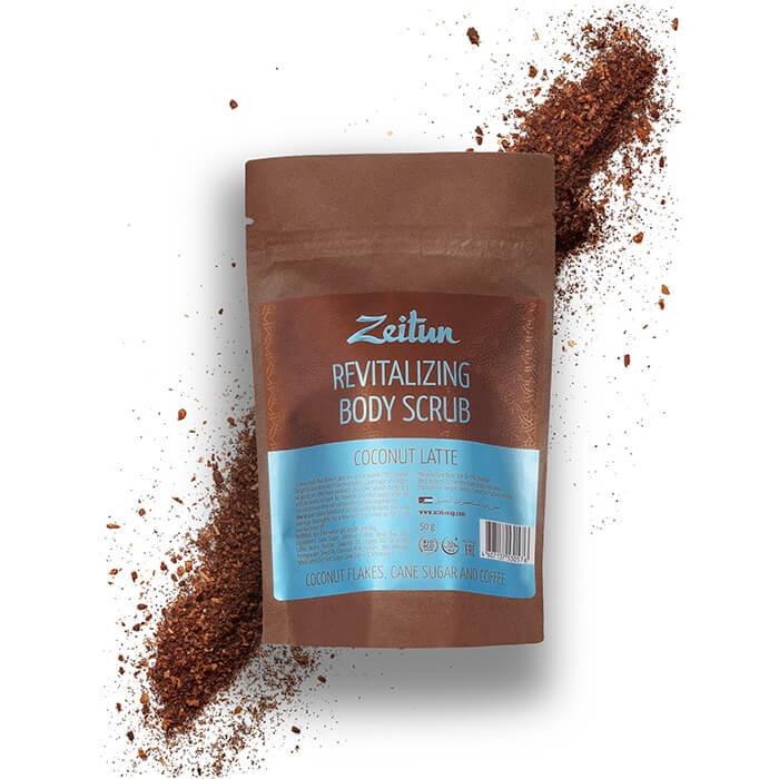 Купить Скраб для тела Zeitun Revitalizing Body Scrub Coconut Latte, Омолаживающий питательный скраб для тела с коксовой стружкой, Иордания