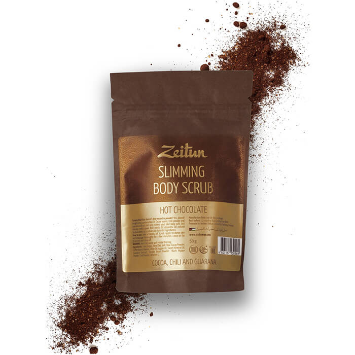 Купить Скраб для тела Zeitun Slimming Body Scrub Hot Chocolate (50 г), Моделирующий сухой скраб для тела с молотым какао, Иордания