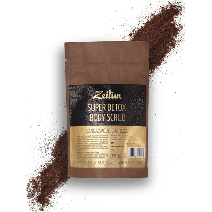 Скраб для тела Zeitun Super Detox Body Scrub Sandalwood Charcoal (50г) Супер-детокс сухой скраб для тела с кокосовым углём фото