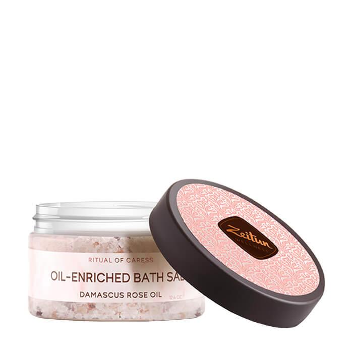 Купить Соль для ванны Zeitun Ritual of Caress Oil-Enriched Bath Salt, Ароматическая соль для ванн с дамасской розой и маслом персика, Иордания
